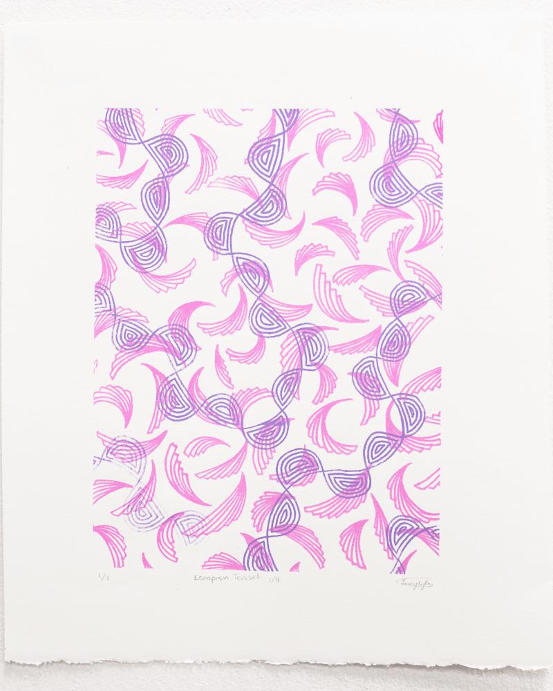 tea set 1 of 4, pink & purple patterns